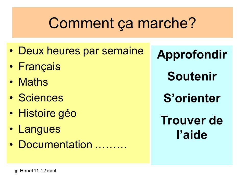 jp Houël 11-12 avril Comment ça marche? Deux heures par semaine Français Maths Sciences Histoire géo Langues Documentation ……… Approfondir Soutenir So