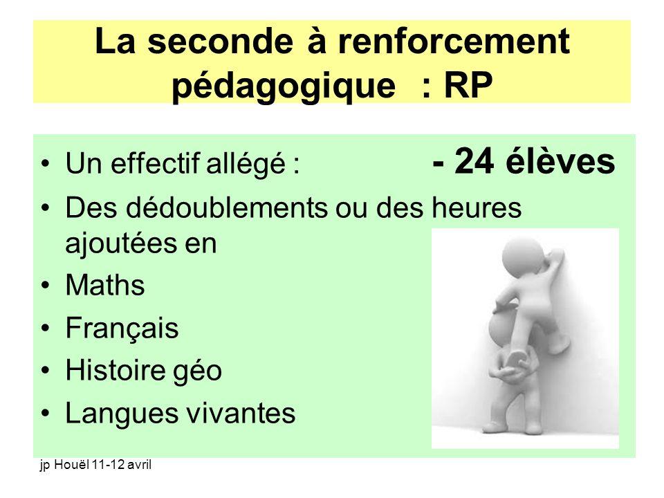 jp Houël 11-12 avril La seconde à renforcement pédagogique : RP Un effectif allégé : - 24 élèves Des dédoublements ou des heures ajoutées en Maths Fra