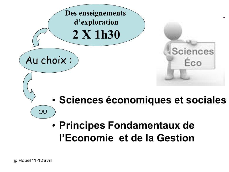 jp Houël 11-12 avril Sciences économiques et sociales Principes Fondamentaux de lEconomie et de la Gestion Des enseignements dexploration 2 X 1h30 Au