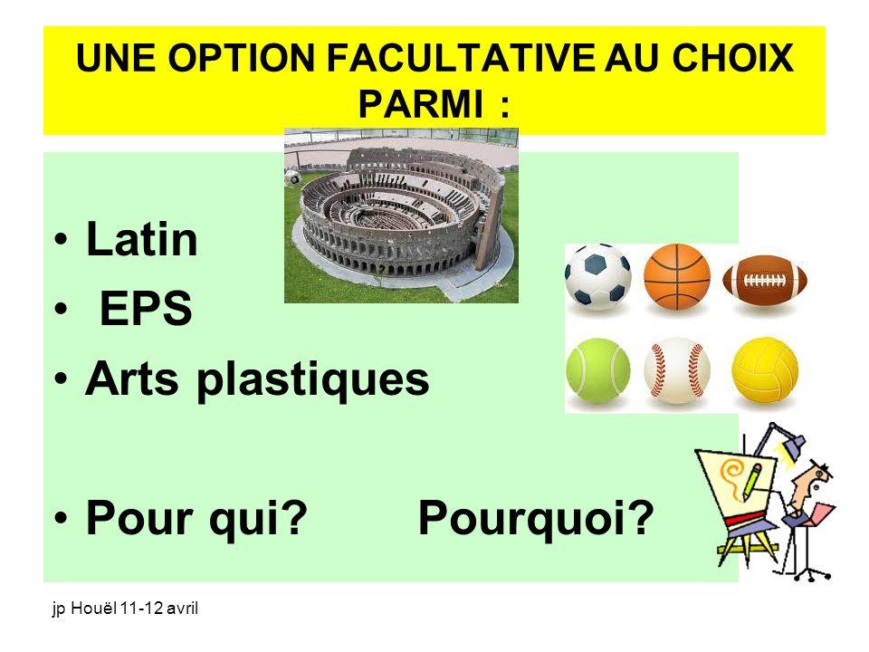 jp Houël 11-12 avril UNE OPTION FACULTATIVE AU CHOIX PARMI : Latin EPS Arts plastiques Pour qui? Pourquoi?
