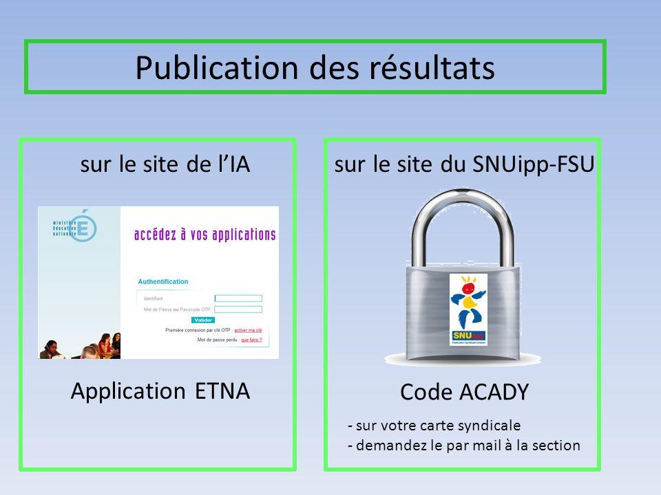 Publication des résultats sur le site de lIAsur le site du SNUipp-FSU Application ETNA Code ACADY - sur votre carte syndicale - demandez le par mail à la section