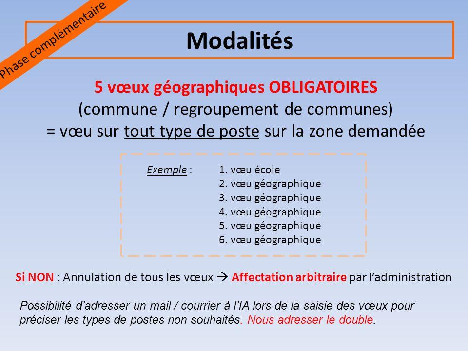 5 vœux géographiques OBLIGATOIRES (commune / regroupement de communes) = vœu sur tout type de poste sur la zone demandée Exemple : 1.