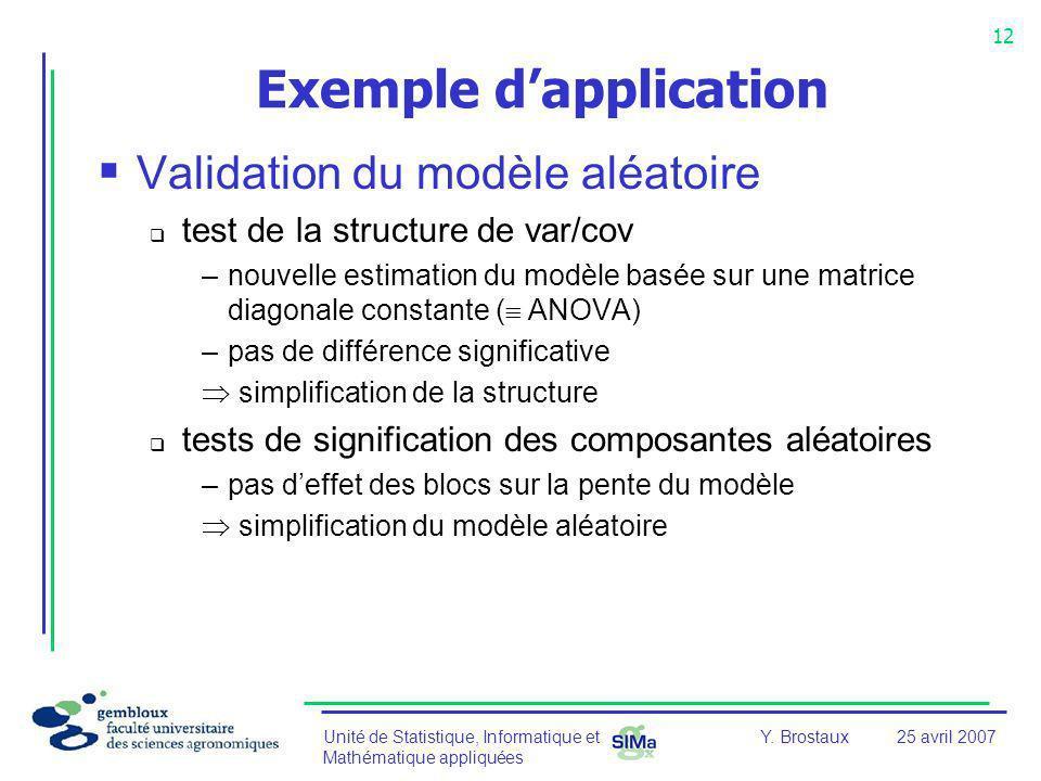Unité de Statistique, Informatique et Mathématique appliquées 12 Y. Brostaux25 avril 2007 Exemple dapplication Validation du modèle aléatoire test de