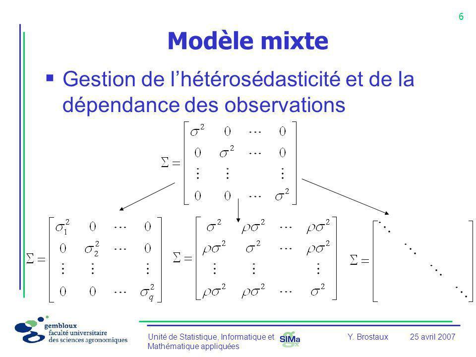 Unité de Statistique, Informatique et Mathématique appliquées 6 Y. Brostaux25 avril 2007 Modèle mixte Gestion de lhétérosédasticité et de la dépendanc