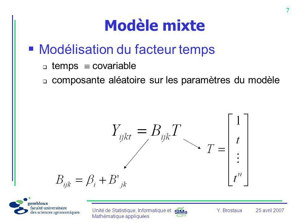 Unité de Statistique, Informatique et Mathématique appliquées 7 Y. Brostaux25 avril 2007 Modèle mixte Modélisation du facteur temps temps covariable c
