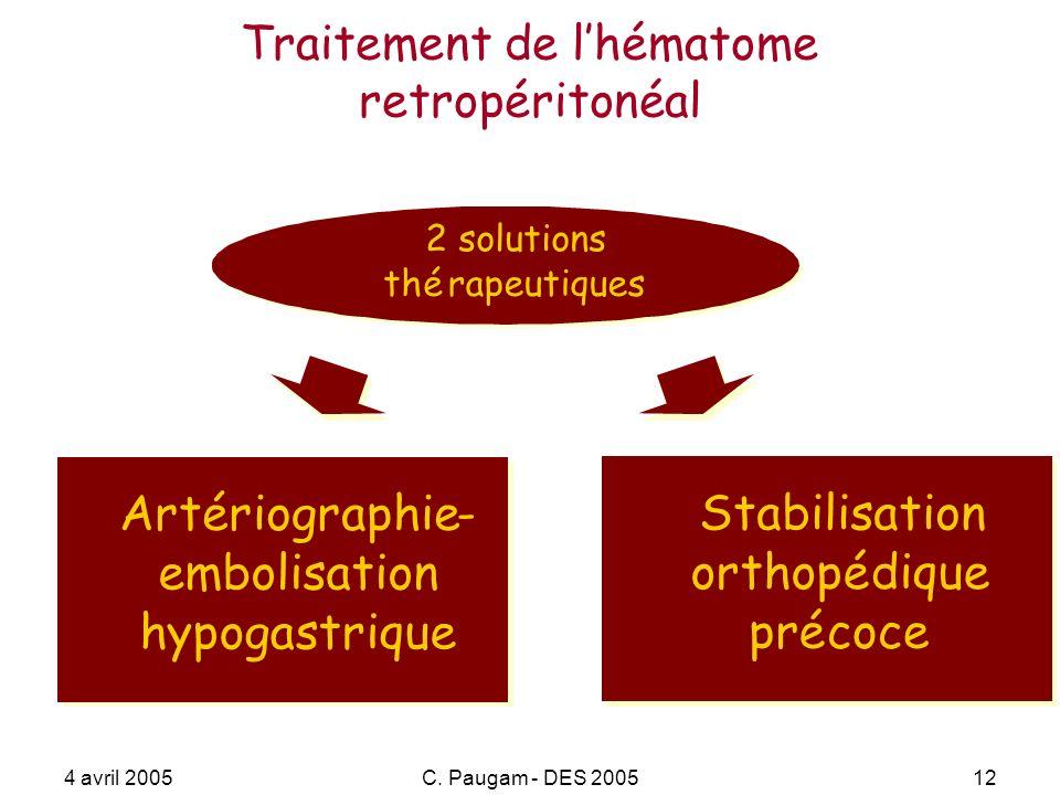 4 avril 2005C. Paugam - DES 200512 Traitement de lhématome retropéritonéal Artériographie- embolisation hypogastrique Artériographie- embolisation hyp
