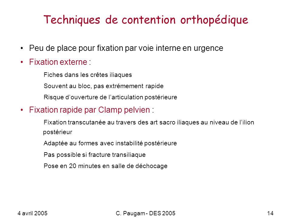 4 avril 2005C. Paugam - DES 200514 Techniques de contention orthopédique Peu de place pour fixation par voie interne en urgence Fixation externe : Fic