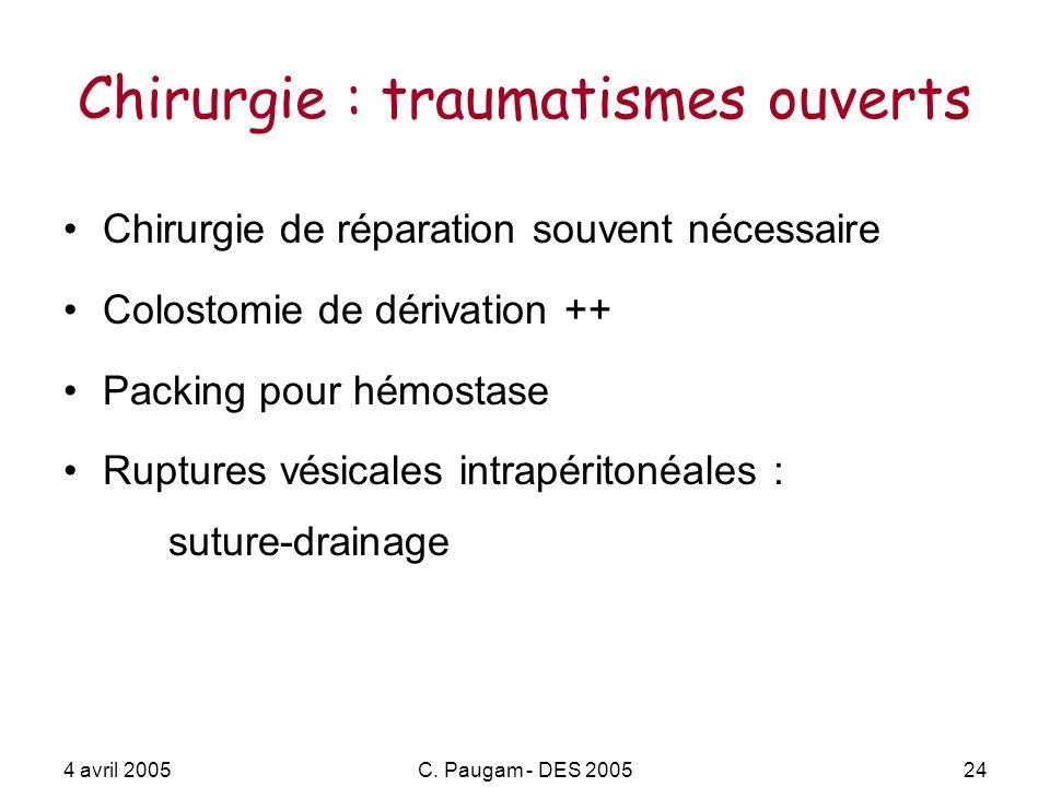 4 avril 2005C. Paugam - DES 200524 Chirurgie : traumatismes ouverts Chirurgie de réparation souvent nécessaire Colostomie de dérivation ++ Packing pou