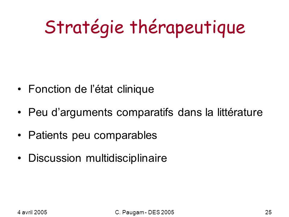 4 avril 2005C. Paugam - DES 200525 Stratégie thérapeutique Fonction de létat clinique Peu darguments comparatifs dans la littérature Patients peu comp