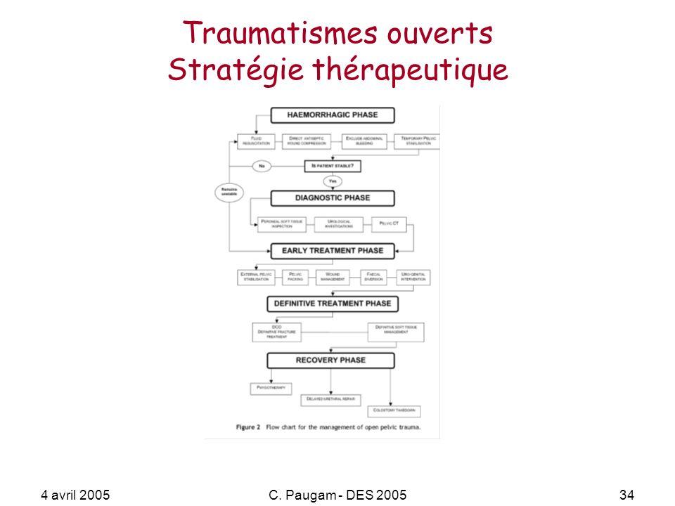 4 avril 2005C. Paugam - DES 200534 Traumatismes ouverts Stratégie thérapeutique