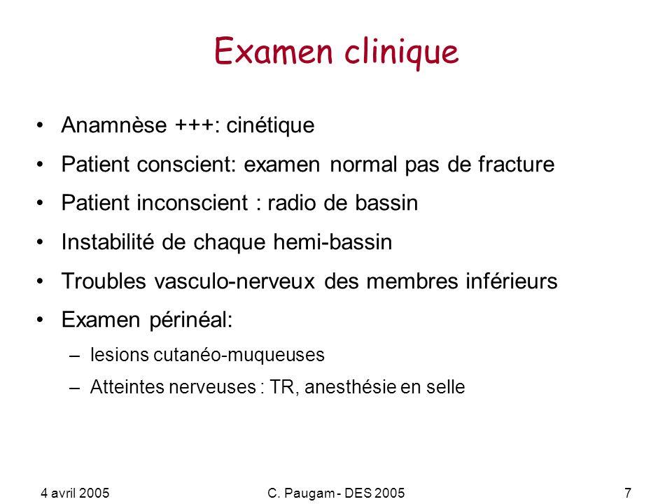 4 avril 2005C. Paugam - DES 20057 Examen clinique Anamnèse +++: cinétique Patient conscient: examen normal pas de fracture Patient inconscient : radio