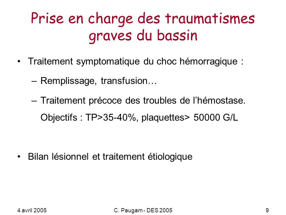 4 avril 2005C. Paugam - DES 20059 Prise en charge des traumatismes graves du bassin Traitement symptomatique du choc hémorragique : –Remplissage, tran