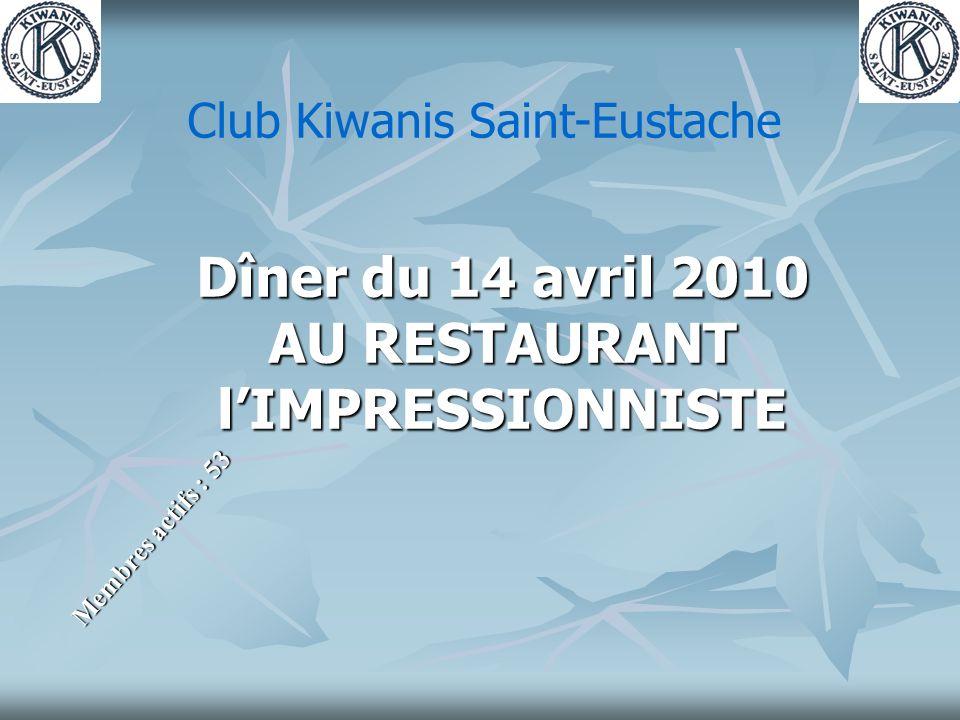 Dîner du 14 avril 2010 AU RESTAURANT lIMPRESSIONNISTE Membres actifs : 53 Club Kiwanis Saint-Eustache