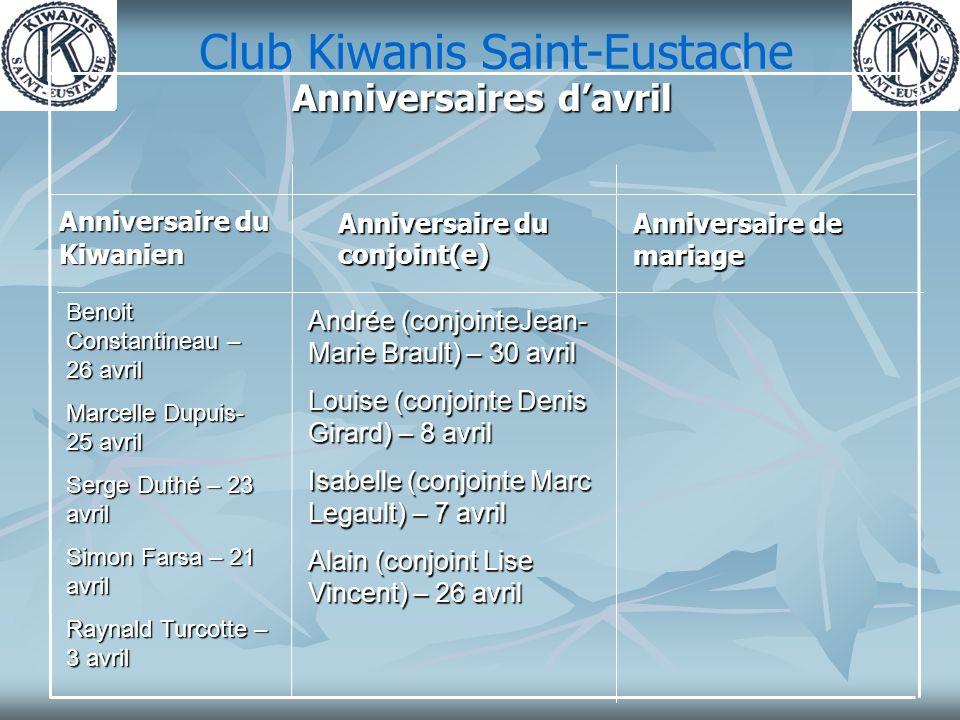Club Kiwanis Saint-Eustache Anniversaire de mariage Anniversaire du conjoint(e) Anniversaire du Kiwanien Anniversaires davril Andrée (conjointeJean- M
