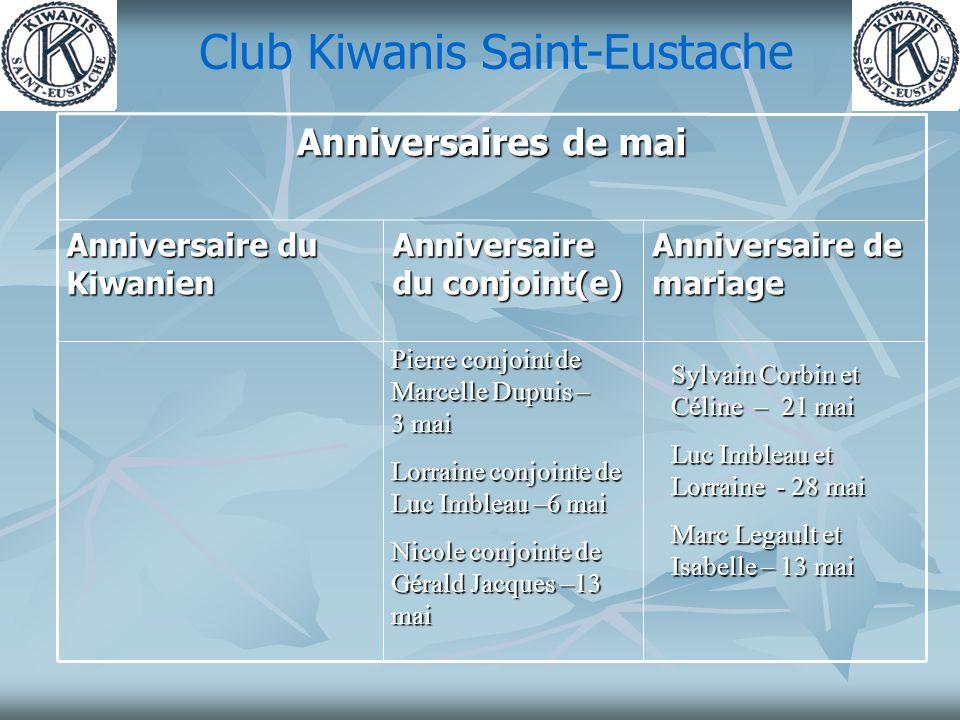 Club Kiwanis Saint-Eustache Anniversaire de mariage Anniversaire du conjoint(e) Anniversaire du Kiwanien Anniversaires de mai Pierre conjoint de Marce