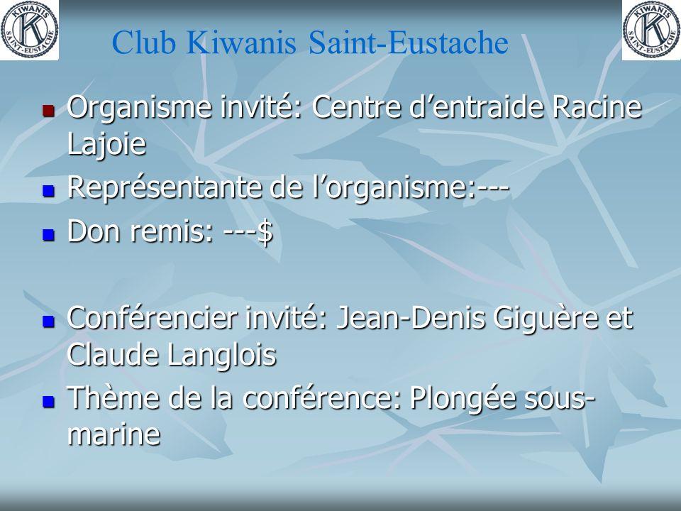 Club Kiwanis Saint-Eustache Organisme invité: Centre dentraide Racine Lajoie Organisme invité: Centre dentraide Racine Lajoie Représentante de lorganisme:--- Représentante de lorganisme:--- Don remis: ---$ Don remis: ---$ Conférencier invité: Jean-Denis Giguère et Claude Langlois Conférencier invité: Jean-Denis Giguère et Claude Langlois Thème de la conférence: Plongée sous- marine Thème de la conférence: Plongée sous- marine