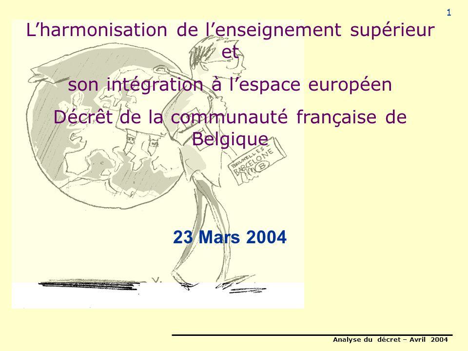 Analyse du décret – Avril 2004 1 Lharmonisation de lenseignement supérieur et son intégration à lespace européen Décrêt de la communauté française de Belgique 23 Mars 2004