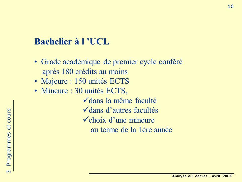 Analyse du décret – Avril 2004 16 Bachelier à l UCL Grade académique de premier cycle conféré après 180 crédits au moins Majeure : 150 unités ECTS Mineure : 30 unités ECTS, dans la même faculté dans dautres facultés choix dune mineure au terme de la 1ère année 3.