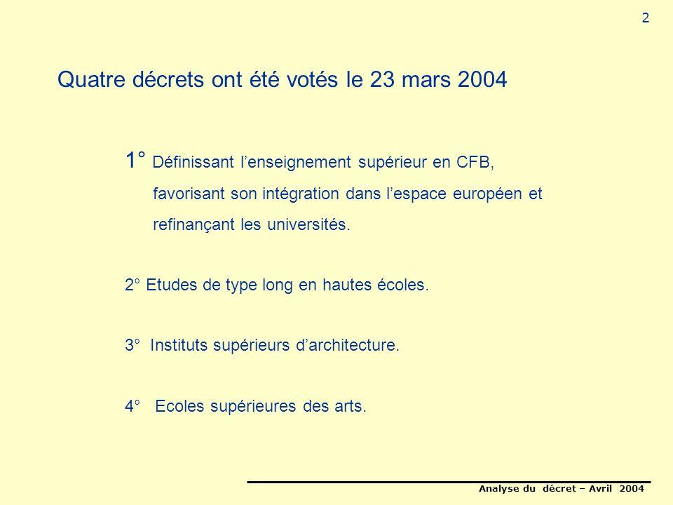 Analyse du décret – Avril 2004 2 Quatre décrets ont été votés le 23 mars 2004 1° Définissant lenseignement supérieur en CFB, favorisant son intégration dans lespace européen et refinançant les universités.