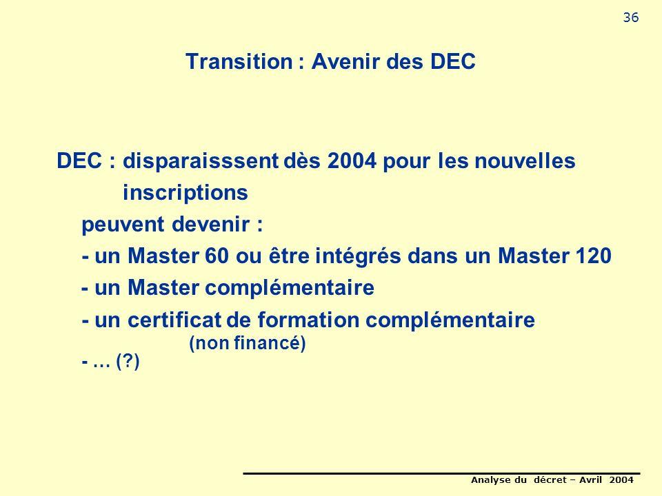 Analyse du décret – Avril 2004 36 Transition : Avenir des DEC DEC : disparaisssent dès 2004 pour les nouvelles inscriptions peuvent devenir : - un Master 60 ou être intégrés dans un Master 120 - un Master complémentaire - un certificat de formation complémentaire (non financé) - … ( )