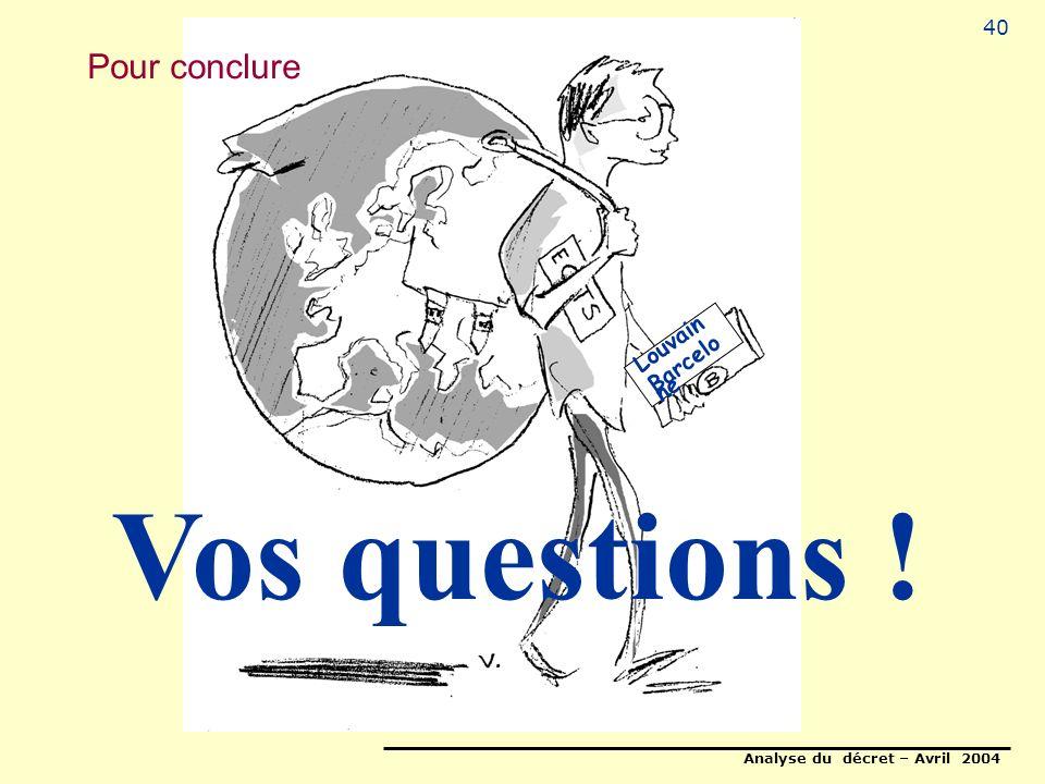 Analyse du décret – Avril 2004 40 Louvain Barcelo ne Pour conclure Vos questions !