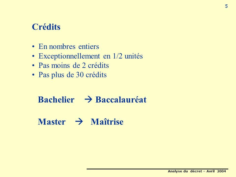 Analyse du décret – Avril 2004 5 Crédits En nombres entiers Exceptionnellement en 1/2 unités Pas moins de 2 crédits Pas plus de 30 crédits Bachelier Baccalauréat Master Maîtrise