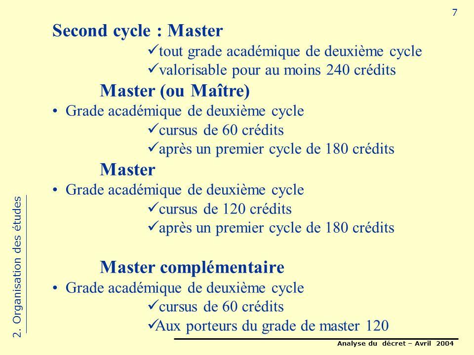 Analyse du décret – Avril 2004 7 Second cycle : Master tout grade académique de deuxième cycle valorisable pour au moins 240 crédits Master (ou Maître) Grade académique de deuxième cycle cursus de 60 crédits après un premier cycle de 180 crédits Master Grade académique de deuxième cycle cursus de 120 crédits après un premier cycle de 180 crédits Master complémentaire Grade académique de deuxième cycle cursus de 60 crédits Aux porteurs du grade de master 120 2.