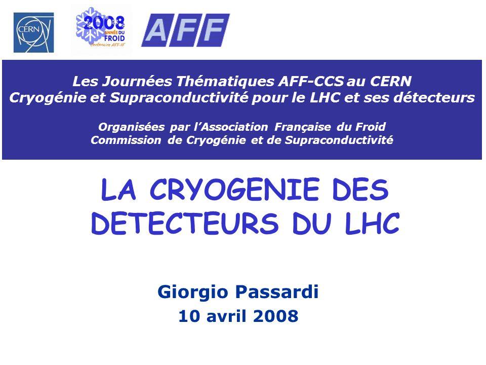 G.Passardi, 10 avril 2008Les Journées Thématiques AFF-CCS, CERN, Genève, Suisse 12 Principes conceptuels et spécifications du système cryogénique pour les aimants (2) Charges thermiques statiques dynamiques à 4.5 K Barrel toroide: 8x82 W 350 W (2 hr) End-Cap toroide: 2x200 W 2x100 W (2 hr) ATLAS solénoïde: 50 W 20 W (20 min) CMS solénoïde: 160 W 360 W (4 hr) Cryogénie externe Mise en froid aimants entre 300 K à 100 K en utilisant LN2, de 100 K à 4.5 K en utilisant les turbines Temps de mise en froid<1 mois, écart max.