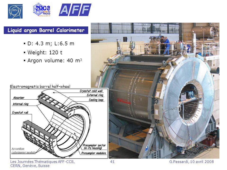 G.Passardi, 10 avril 2008Les Journées Thématiques AFF-CCS, CERN, Genève, Suisse 41 Liquid argon Barrel Calorimeter Electromagnetic barrel half-wheel D