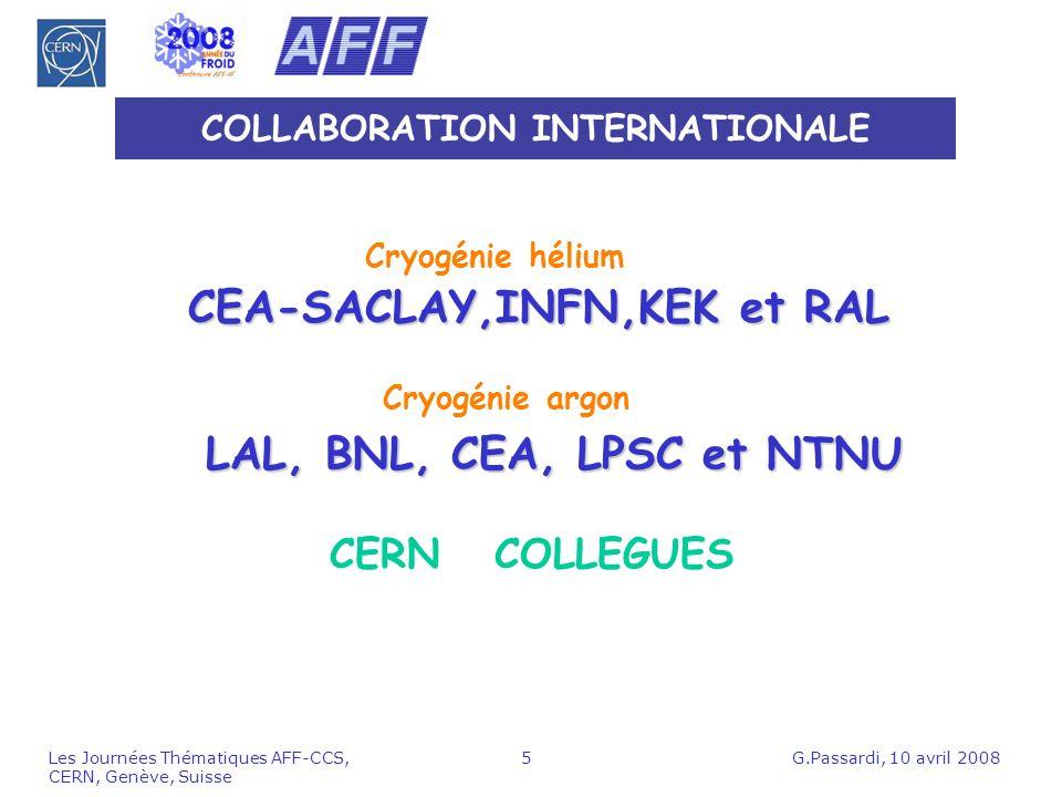 G.Passardi, 10 avril 2008Les Journées Thématiques AFF-CCS, CERN, Genève, Suisse 5 COLLABORATION INTERNATIONALE LAL, BNL, CEA, LPSC et NTNU CEA-SACLAY,