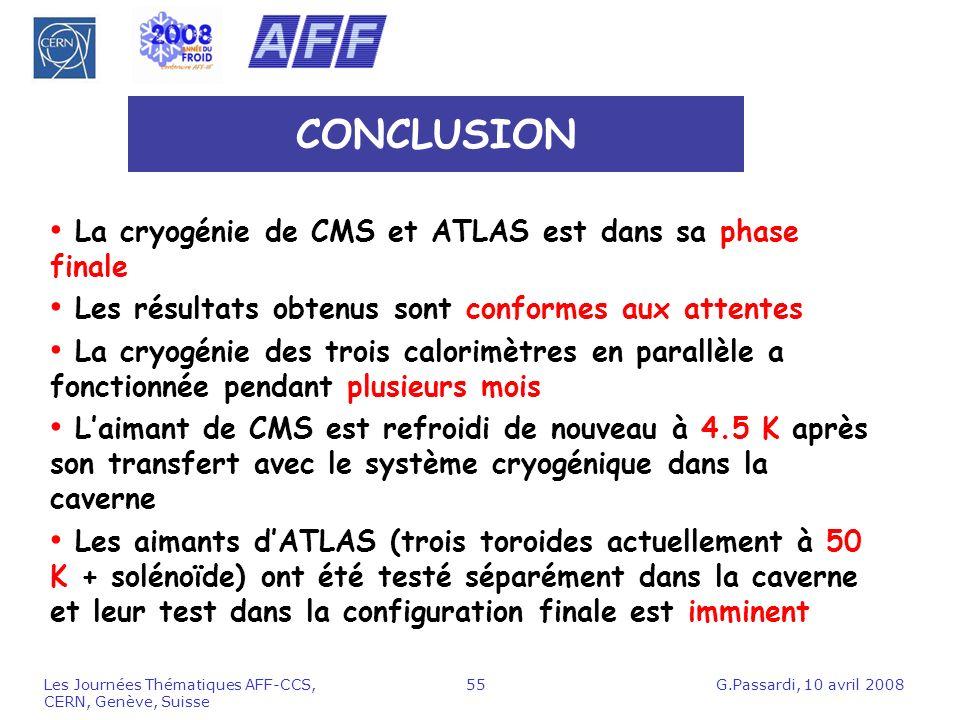G.Passardi, 10 avril 2008Les Journées Thématiques AFF-CCS, CERN, Genève, Suisse 55 CONCLUSION La cryogénie de CMS et ATLAS est dans sa phase finale Le