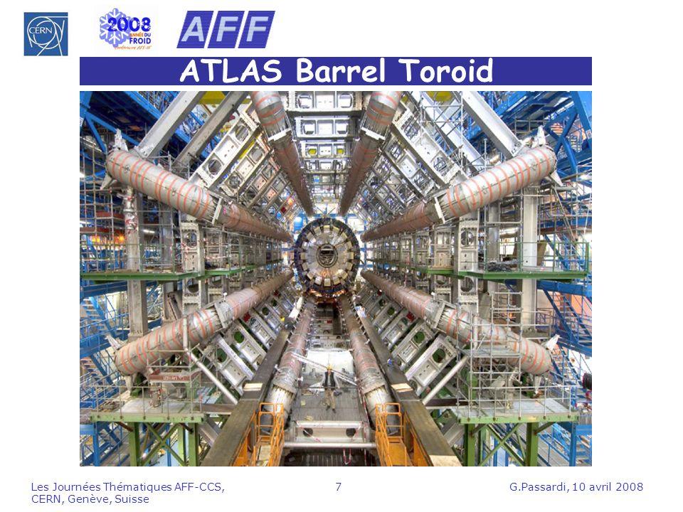 G.Passardi, 10 avril 2008Les Journées Thématiques AFF-CCS, CERN, Genève, Suisse 28 Bilan de la réfrigération du solénoïde de CMS Charges thermiques à 4.5 K: 180 W (statique) + 50 W (interfaces) +360 W (dynamique) = 590 W (réfrigérateur 920 W mesuré, 800 W spécifié) Charge en liquéfaction: 2.6 g/s (réfrigérateur 4 g/s mesuré, 4 g/s spécifié) Charge thermique des écrans à 60 K: 1100 W* (réfrigérateur 4400 W mesuré,4500 spécifié) * mesure préliminaire