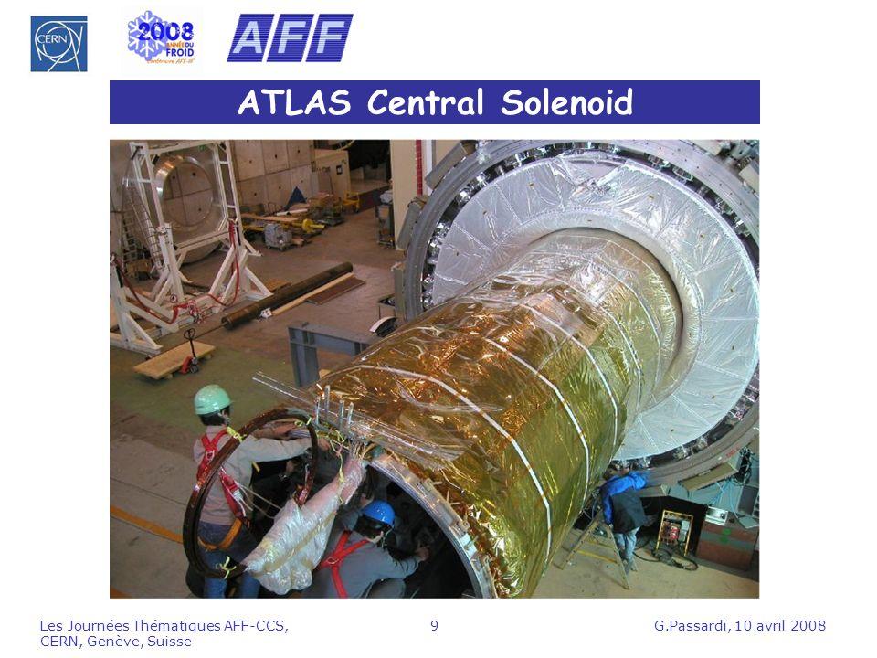 G.Passardi, 10 avril 2008Les Journées Thématiques AFF-CCS, CERN, Genève, Suisse 10 Données aimants ATLAS Trois grands toroides (Barrel, 2 End-Caps) Masse froide à 4.5 K: 680 tonnes Courant 20.5 kA, énergie stockée 1.6 GJ Solénoïde Centrale Courant 7.6 kA, 2 T, énergie stockée 39 MJ Masse froide à 4.5 K: 5.5 tonnes CMS Grand solénoïde: masse froide à 4.5 K: 220 tonnes Courant 19.5 kA, 4 T, énergie stockée 2.6 GJ Températures après décharge rapide < 80 K