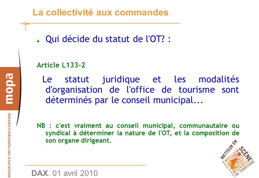 DAX. 01 avril 2010. 11 La collectivité aux commandes Qui décide du statut de l OT.