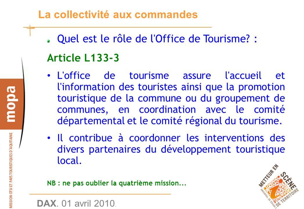 DAX. 01 avril 2010. 13 La collectivité aux commandes Quel est le rôle de l Office de Tourisme.