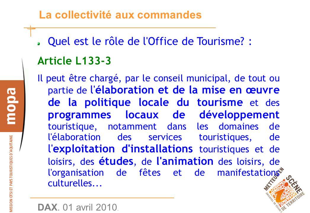 DAX. 01 avril 2010. 14 La collectivité aux commandes Quel est le rôle de l Office de Tourisme.