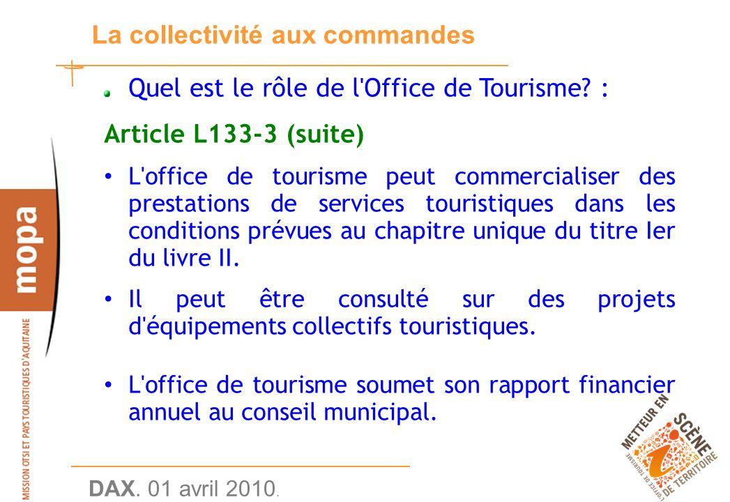 DAX. 01 avril 2010. 15 La collectivité aux commandes Quel est le rôle de l Office de Tourisme.