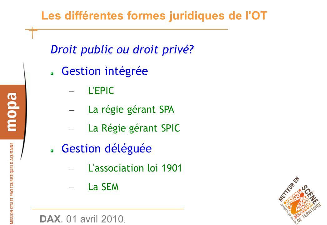 DAX. 01 avril 2010. 16 Les différentes formes juridiques de l OT Droit public ou droit privé.