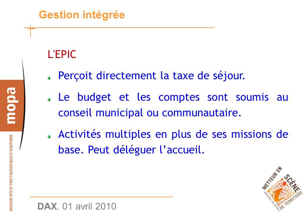 DAX. 01 avril 2010. 19 Gestion intégrée L EPIC Perçoit directement la taxe de séjour.