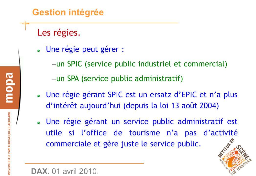 DAX. 01 avril 2010. 20 Gestion intégrée Les régies.
