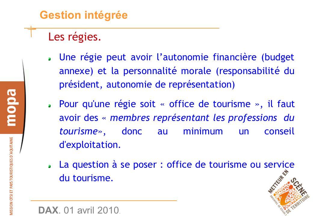 DAX. 01 avril 2010. 21 Gestion intégrée Les régies.