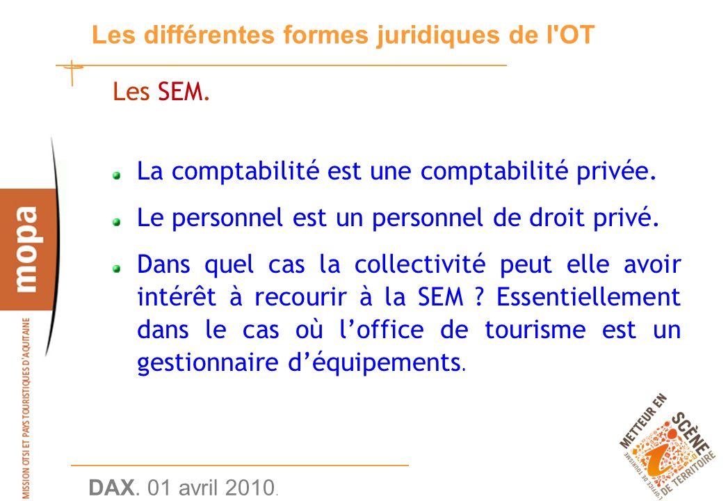 DAX. 01 avril 2010. 26 Les différentes formes juridiques de l OT Les SEM.