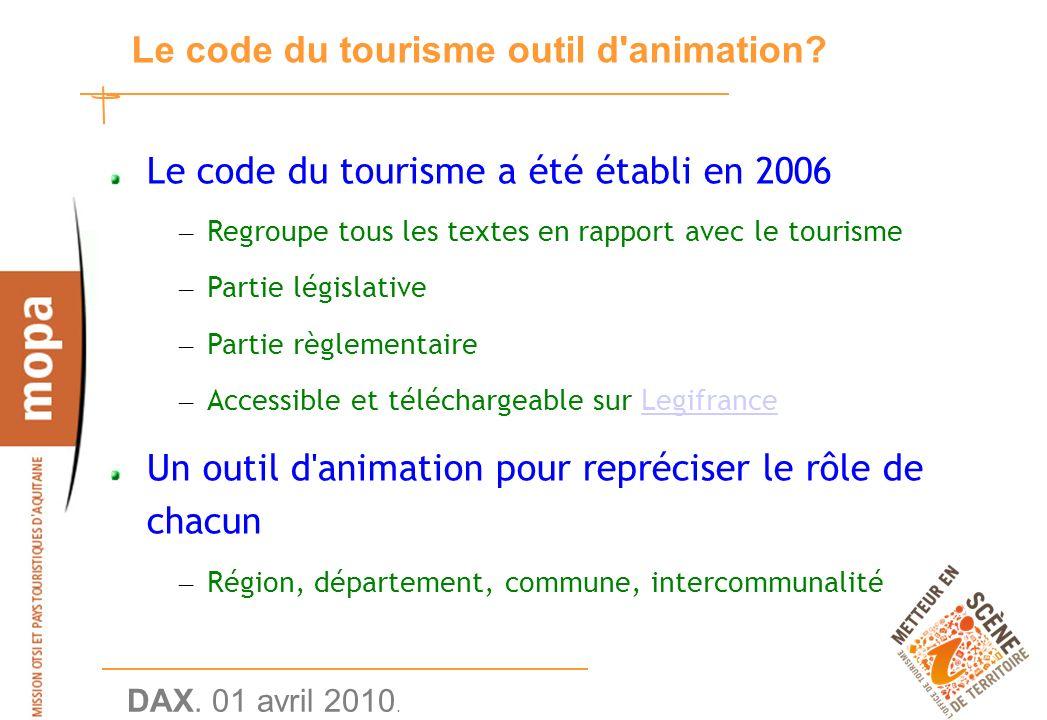 DAX. 01 avril 2010. 5 Le code du tourisme outil d animation.