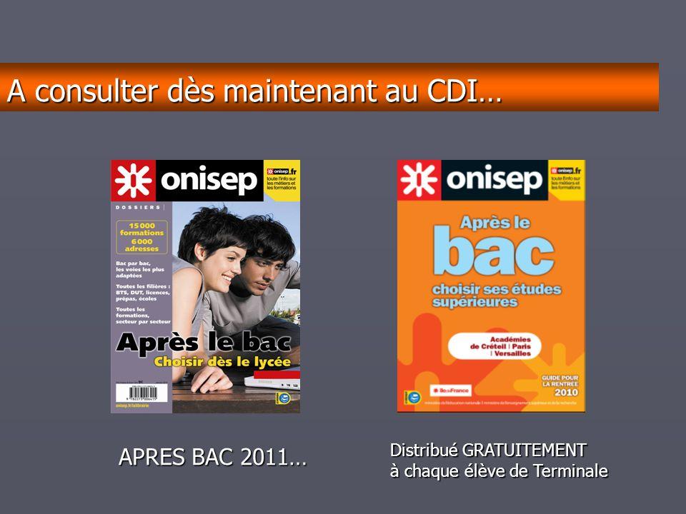 décembrejanvierfévriermarsavrilmaijuinjuilletaoûtseptembre APRES BAC 2011… Distribué GRATUITEMENT à chaque élève de Terminale A consulter dès maintenant au CDI…