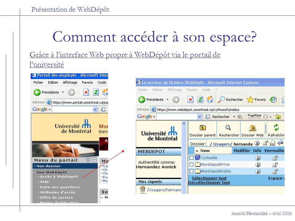 Présentation de WebDépôt Comment accéder à son espace? Annick Hernandez – avril 2006 Grâce à linterface Web propre à WebDépôt via le portail de lunive