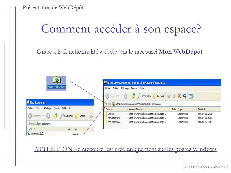 Présentation de WebDépôt Comment accéder à son espace? Annick Hernandez – avril 2006 Grâce à la fonctionnalité webdav via le raccourci Mon WebDépôt AT