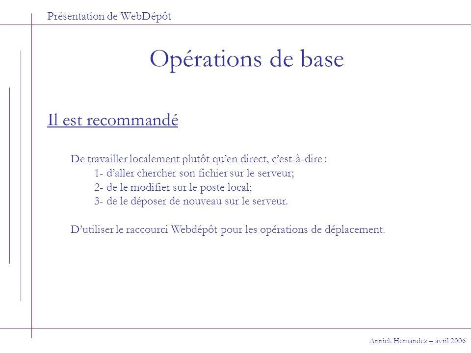 Présentation de WebDépôt Opérations de base Annick Hernandez – avril 2006 Il est recommandé De travailler localement plutôt quen direct, cest-à-dire :