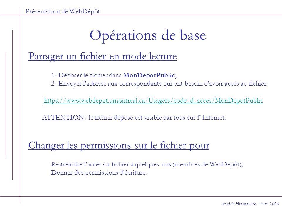 Présentation de WebDépôt Opérations de base Annick Hernandez – avril 2006 Partager un fichier en mode lecture 1- Déposer le fichier dans MonDepotPubli