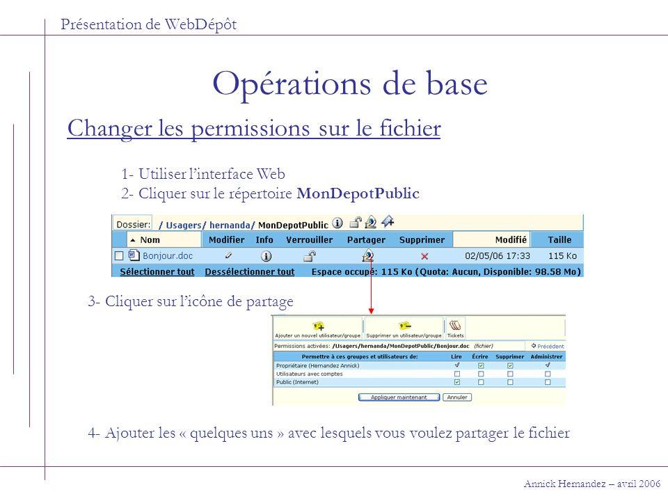 Présentation de WebDépôt Opérations de base Annick Hernandez – avril 2006 Changer les permissions sur le fichier 1- Utiliser linterface Web 2- Cliquer