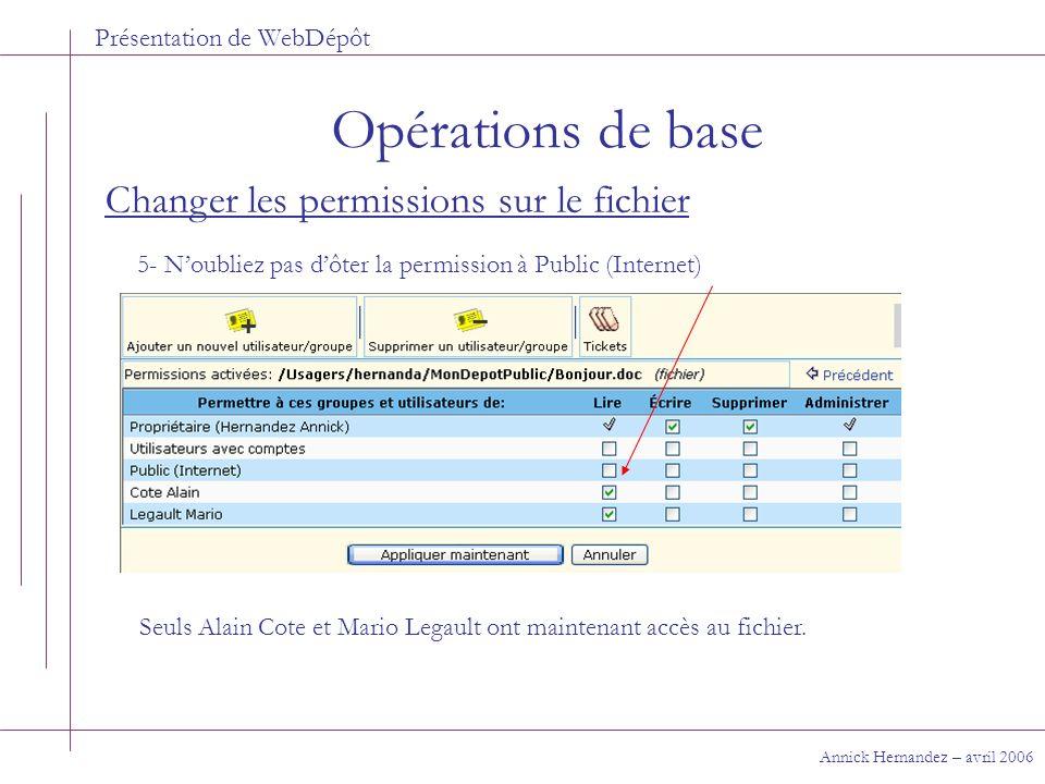 Présentation de WebDépôt Opérations de base Annick Hernandez – avril 2006 Changer les permissions sur le fichier 5- Noubliez pas dôter la permission à